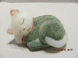 FENTON ART GLASS 2006 CAT (KITTEN) SLEEPING FIGURINE SIGNED D. CUTSHAW - $34.99