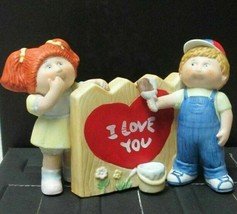 Xavier Roberts Porcelain Cabbage Patch Doll Figurine 1985 Boy & Girl I Love You! - $9.89