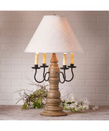 LARGE COUNTRY TABLE LAMP & IVORY LINEN SHADE Crackle Pearwood Vintage Fi... - $411.45