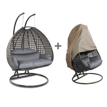 Outdoor Hanging Stand Wicker Egg Swing Chair 2 Person Heavy Duty Rattan ... - $487.99