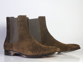 Handmade Men's Dark Brown Suede High Ankle Chelsea Style Boots image 4