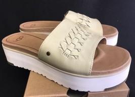 Ugg Australia Delaney Canvas Leather Platform Wedge Slide Sandals Sz 6 1016657 - $69.99