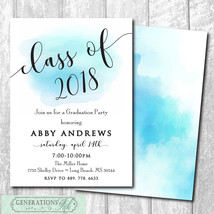 Graduation Party Announcement Invitation, watercolor/printable/Digital F... - $14.99