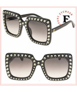 GUCCI HOLLYWOOD FOREVER 0148 Black Crystal Stud Oversized Sunglasses GG0148 - $643.50