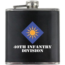 Army 40th Infantry Division Veteran Full Color Groomsman Gift Leather Wrap Flask - $19.79