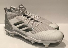 Adidas Mens Power Alley 5 Mid Baseball Cleat Shoe White Silver Size 13.5 M - $45.00