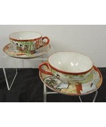 Two Antique Oriental Geisha & Scenic Displays On  Egg Shell Cups & Saucers - $8.31