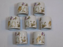Butterfly Purple Flowers Bumble Bee White China Napkin Rings Holder Set ... - $26.99