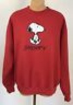 Vintage Snoopy Sweatshirt L Red Embroidered Peanuts Lee USA Charlie Coll... - $199.99
