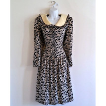 Vintage Sailor Dress 60s Leslie Fay Navy Collar Floral Size Small - $24.14
