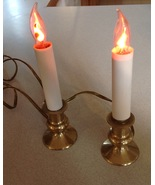 "Electric Candle Lamp 8"" Tall Brass Base Set of 2 Flickering Flame Bulbs - $19.75"