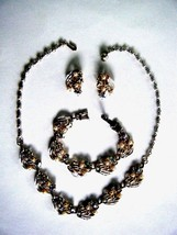 Vintage Gold Tone Jewelry Set Necklace Bracelet Earrings Pearls & Clear ... - $19.75