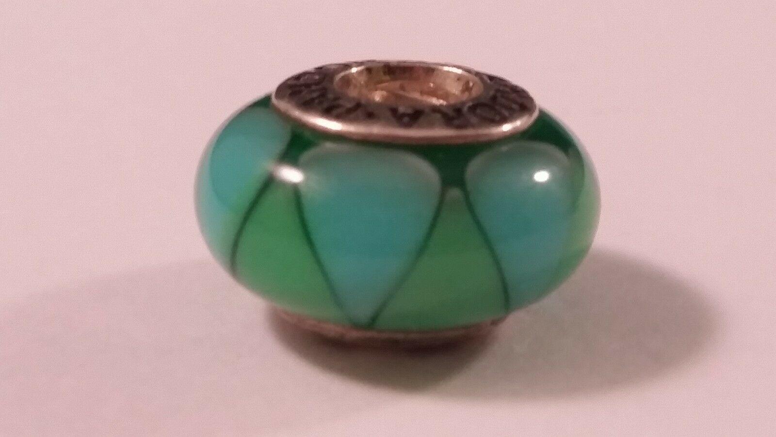 Sterling Silver PANDORA RETIRED Captivating Green Glass European Charm FREESHIP