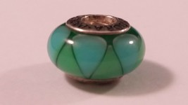 Sterling Silver PANDORA RETIRED Captivating Green Glass European Charm F... - $24.74