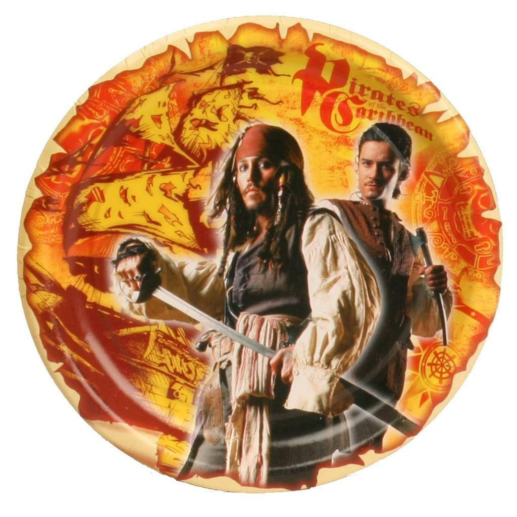 Pirates of the Caribbean 3 Dessert Plates 8 Per Package Birthday Party Supplies