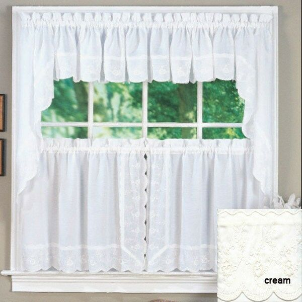 Primary image for Candlewick Scalloped Floral Embroidered Curtain and Swag Set, Creme
