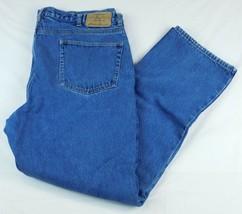 Eddie Bauer Blue Denim Jeans Flannel Lined W 42 L 34 (Act L 33) Tall - $29.99