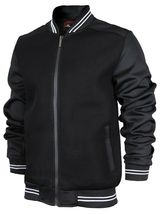 Men's Lightweight Multi Pocket Letterman Varsity Mesh Track Bomber Jacket image 10