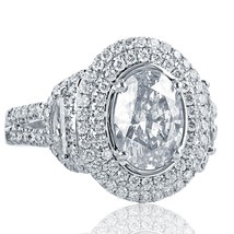 2.79 Carat Oval Cut Epaulet Side Diamond Engagement Ring Halo 18k White ... - €5.674,01 EUR