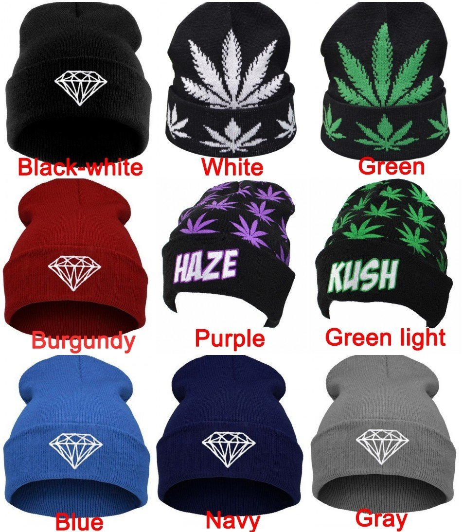 Hot Fall Winter Women Men Knitting Beanies Hat With Maple Petaled Leaves Diamond