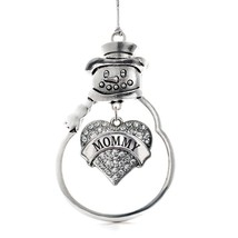 Inspired Silver Mommy Pave Heart Snowman Holiday Christmas Tree Ornament With Cr - $14.69