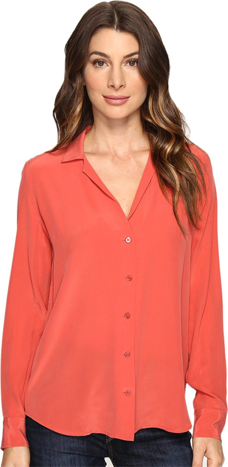 EQUIPMENT Women's Adalyn V-Neck Button Up Solid Cranberry Blouse