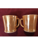 2 Vintage Fire King Copper Peach Luster D Handle Mugs Cups Oven Ware Mad... - $23.74