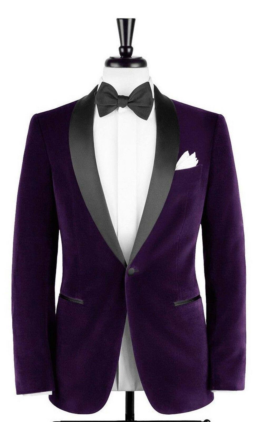 Men Purple Smoking Jackets Designer Elegant Luxury Tuxedo