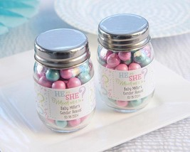 inch Gender Reveal inch  Personalized Mini Mason Jar (2 Sets of 12)  - $39.99