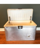 70s Mid Century Modern MCM Aluminum Metal Handled Ice Chest Cooler Silver  - $148.45