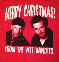 WET BANDITS HOME ALONE HARRY MARV MERRY CHRISTMAS MEN'S RED T-SHIRT NEW - $12.75