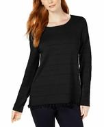 Charter Club Pom Pom-Trim Knit Detail Pullover Sweater, Black NWT XS - $10.74