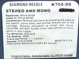 STYLUS NEEDLE Genuine SHURE N70B N72B M70B M72B 768-D6 image 2