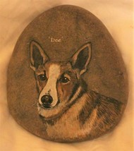 Corgi Dog Stone Rock Pet Art Paperweight Original Painting signed Hand P... - $28.99