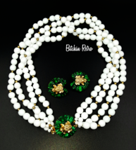 Gay Boyer Enamel Frog and Milk Glass Necklace With Earrings Vintage Set - $95.00