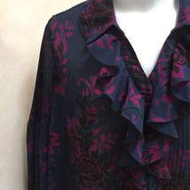 Lane Bryant 18 20 Top Blue Purple Floral Sheer Knife Pleat Plus Size Shi... - $19.58