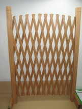 Hand Made Brown Wood Lattice Expandable Gate Divider with Stand NIB - $12.82