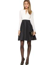NEW HALSTON HERITAGE Fit&Flare Eggshell&Black Color Block Dress (Size 0)... - $299.95