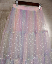 Women Girl Rainbow Long Tulle Skirt Polka Dot Rainbow Skirt Holiday Skirt Outfit image 12