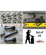 "24 Wrought Iron 2"" Hammer In Hooks - Amish Handmade Antique Nail Hook Ha... - $53.87"