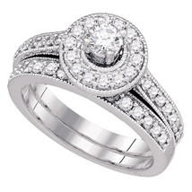 14k White Gold Round Diamond Bridal Wedding Engagement Ring Band Set 1.00 Ctw - £1,143.75 GBP
