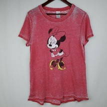 Disney Minnie Mouse Juniors Tshirt XL Red Burnout Graphic Tee Shirt Sheer  - $14.99