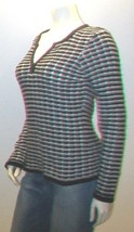 Black and White V Neck Sweater Top, Liz and Co., Size M - $12.99