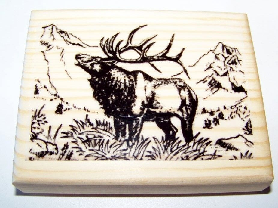 Brand New Mounted Rubber Stamps - Scenic Elk - $8.49