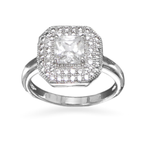 Square CZ Ring with Micro Pave CZs - $69.99