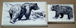 Lot of 2 Brand New Mounted Rubber Stamps - BEARS animal LOT - $9.99