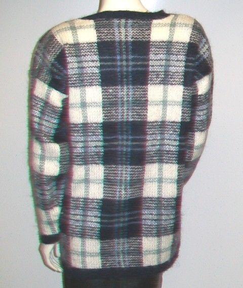 Vintage Blue Plaid Mohair Oversize Sweater, Size M