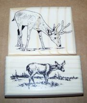 Lot Of 2 Brand New Mounted Rubber Stamps   Deer Fawn Lot - $11.99