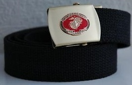 USMC Air Land or Sea Black Belt & Buckle  - $14.99
