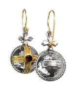 Gerochristo 3063 - Solid 18K Gold, Silver & Garnet Medieval-Byzantine Ea... - $1,050.00